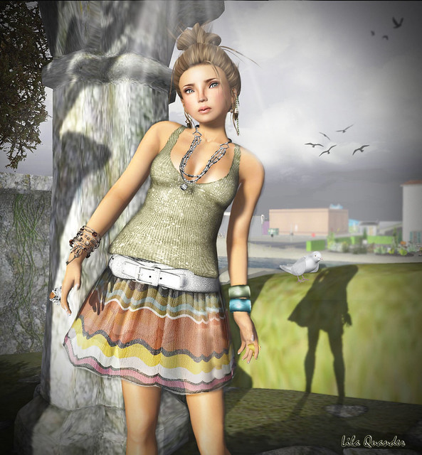 "*Mimikri* Nica - Olive Top & July Skirt / Hair Fair 2011 ""LOQ Hairs"" - Saki - Caramel (Close)"
