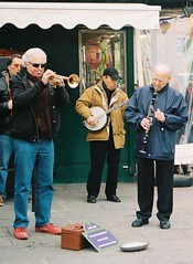 Old jazz, by J L Sinclair (Jelausin) Tags: street people man paris 35mm photography minolta documentary trumpet banjo buskers instruments