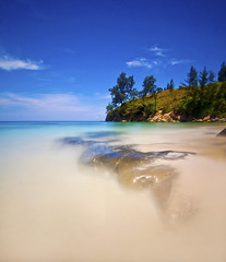 The Blues (nelza jamal) Tags: trip travel blue tree green beach water rock photography daylight nikon long exposure slow crystal sandy tripod tokina clear malaysia tips shutter getty sabah pantai foreground tanjung kudat simpang mengayau jernih boneo bw110 nelzajamal