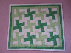 IMG_1365 (just me, molly) Tags: baby green wheel pin quilt border polka dot pinwheel whirligig mitered