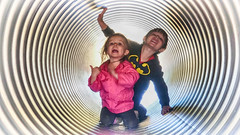 Time Tunnel (Just Joe ( I'm back...sort of )) Tags: hss slidersunday people kids children autumn fun timetunnel pink laugh