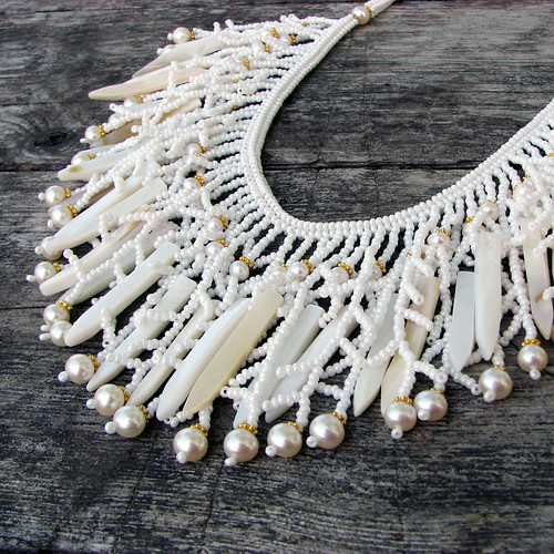 beadwoven necklace with freshwater pearls and shell