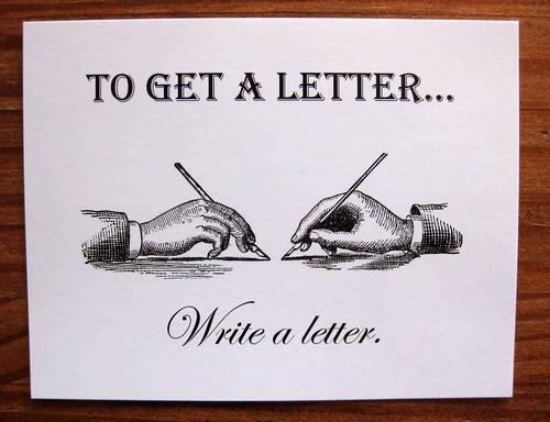To get a letter, write a letter postcard