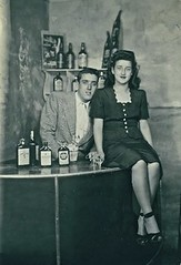Coney Island Honeymoon (Wires In The Walls) Tags: portrait ny newyork brooklyn bar coneyisland honeymoon 1940s staged 1946 liquorbottles