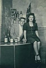Coney Island Honeymoon (Wires In The Walls) Tags: portrait ny newyork brooklyn bar coneyisland honeymoon 1940s staged 1946 liquorbottles