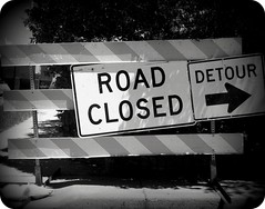 Road Closed (BlackAndBlueBeauty) Tags: road white black montana closed butte uptown caution detour