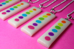 Rainbow Bubbles Necklaces (Hollyrocks) Tags: geometric glitter rainbow mod neon bright circles shapes bubbles pride jewelry symmetry sparkle artsy clay glam accessories simple polymer hollyrocks