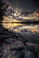 Rays, Rocks and Reflections. (Mattias Fahlgren) Tags: sunset sun lake water clouds reflections nikon rocks sundown sweden sigma karlstad sverige 1020mm hdr vnern hammar vrmland d5000 mrudden