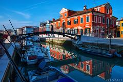Burano - Colored Houses Reflections (Yen Baet) Tags: trip travel bridge venice italy holiday color reflections boats island harbor colorful europe italia harbour tourist burano sanmartino yenbaet