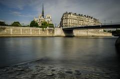 Notre Dame de Paris (David Bertho) Tags: longexposure paris france church monument seine sunrise river nikon cathedral sigma landmark tourist notredame 1750 lightroom nd400 d7000