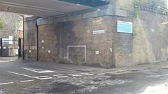 Goalposts Valentia Place (sarflondondunc) Tags: paintedgoal goal brickwallgoal valentiaplace cobbles brixton lambeth london railwaybridge brixtonstationroad