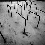 Bike stands near my office, in the winter snow, Apsley, Hemel Hempstead.