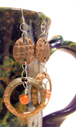Antique Bronze & Agate Earrings - $20