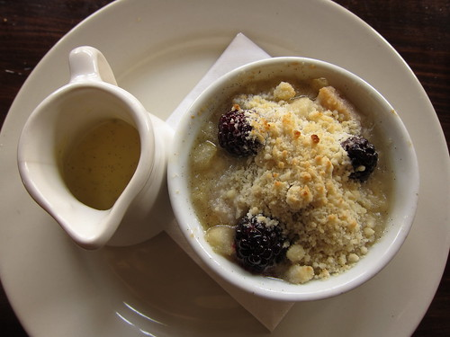 Blackberry-Pear Crumble with Vanilla Bean Crème Anglaise at Feast