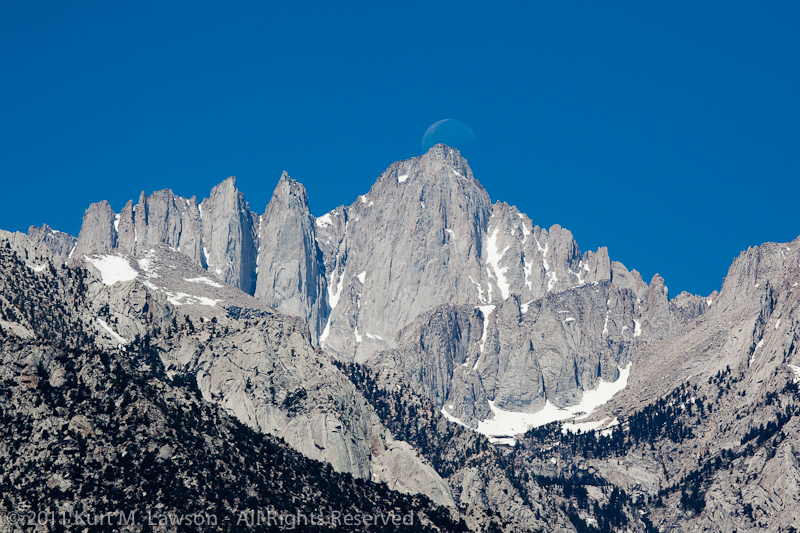 The moon over Mount Whitney