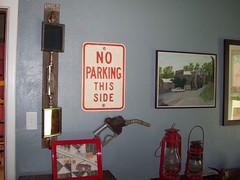 Our red bedroom (grandmaper) Tags: railroad red sign truck mirror junk quilt retro vehicle decorate