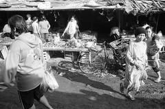 . (firdaus usman) Tags: people bw film indonesia market blacknwhite nikonf groceries seller activities 2011 depok humaniora ultrafine400 nikkor28mmf35ais pasarkemirimuka traditionalwetmarket