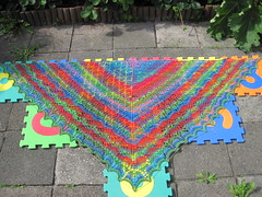 Swallowtail Shawl (DutchAstrid) Tags: garden knitting lace silk block shawl blocking swallowtail breien ajour triangular noro kant sjaal driehoek opspannen