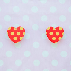 Two red heart with polka dot pink and white background (mcfishophoto) Tags: pink red white art love beautiful illustration paper happy design sticker day pattern heart emotion image symbol cut drawing background label postcard tag border banner decoration valentine romance polka dot card cover amour gift trendy present backdrop romantic feeling vector template clipped