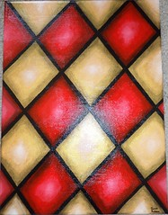 Stained Glass 7 (James Andrews1) Tags: red color art colors painting gold acrylic pattern stainedglass diamond acrylicpainting harlequin jamesandrews redandgold diamondpattern harlequinpattern jamesandrewsart stainedglass7