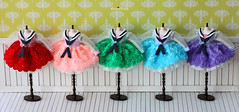 Anniedollz Handmade Flower Sailor Middy Collared Dress for Blythe