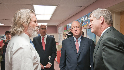 "U.S. Department of Agriculture Secretary Tom Vilsack (right) and No Kid Hungry National Campaign Spokesperson Jeff Bridges (white shirt), and Share Our Strength founder and Executive director Billy Shore (right) talk about what will it take to end hunger at the Virginia No Kid Hungry Campaign launch at Barcroft Elementary School in Arlington, VA, on Tuesday, June 7, 2011. Secretary Vilsack said, during his address "" We know our strength comes from out partnerships…"" Campaign partners include Share our Strength, the Federation of Virginia Food Banks, corporate partners, education leaders, government agencies and community organizations. The Virginia Summer Meals for Kids Program is funded by the USDA and provides free summer meals at hundreds of sites across the Commonwealth of Virginia, but according to a new report released today by the Food Research and Action Center, more than 80 percent of those eligible do not participate. Virginia Governor Bob McDonnell stressed at the event that all parents who want free meals for their kids in need, can simply call 211 to find a summer meals site near them. USDA Photo by Lance Cheung."