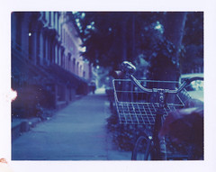 (jeffreywithtwof's) Tags: nyc film jeff bike bicycle analog polaroid basket bell sidewalk pack instant hutton expired 440 fortgreene brownstones bluestone 999 landcamera brookln instantfilm peelapart type108 jeffhutton jeffhuttonphotography jeffreyhutton