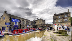 Skipton (EtienneSA) Tags: road street travel england people beautiful architecture buildings landscape boats photography town canal nikon europe dynamic natural pavement walk yorkshire scenic wideangle tourist dreamy tamron hdr narrowboat northyorkshire skipton leedsliverpoolcanal photomatix infinestyle panoramichdr hdrpro thebestofhdr nikond5000