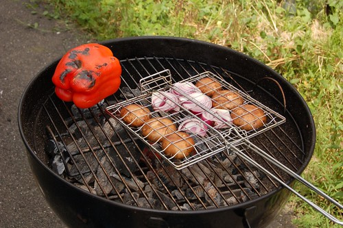Grilling veg for sandwiches