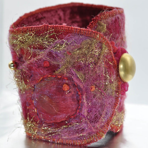 Red and Gold Textile Cuff by Lazi Dazi