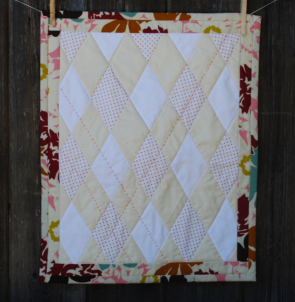Mini Baby Quilt in Neutral Argyle (with a touch of pink)