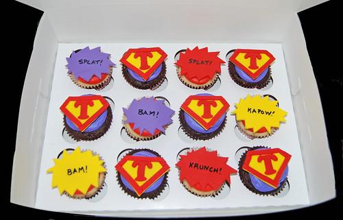 red purple and yellow super hero birthday cupcakes box