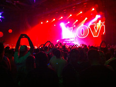 Love (daniellih) Tags: seattle lighting light party people music love sign concert hands dj ray shine hand heart bright live stage crowd may spotlight beyond usc rays wonderland glimmer shining iphone 2011 insomniacevents beyondwonderland