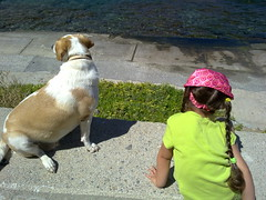 BOTH,  LOOKING AT THE SEA (dimitra_milaiou) Tags: life pink blue friends sea 2 summer two people dog pet green love beach colors girl animal island greek grey friend europe day peace child joy aegean hellas greece hora krista summertime chora andros cyclades katerina dimitra hellenic kyklades     aigaio    plakoyres milaiou