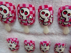 Cheeky Bones Nail Art (borispumps) Tags: pink white cute eye art fun happy skull eyelashes purple cross squares girly glue nail shapes fake polish smiley pirate bones nailpolish crossbones chessboard nailart nailvarnish varnish skullandcrossbones chequerboard fakenails fakeys glueon glueonnails
