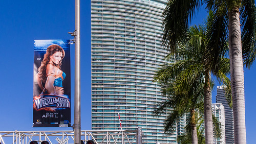 Wrestlemania XXVIII Miami - Eve roadside banner on Biscayne Boulevard