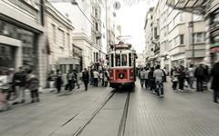 Nostalgic tram (Ajan Alen) Tags: life street people motion blur train turkey walking moving mainstreet zoom walk traditional crowd transport fast tram rail istanbul motionblur coming tramway taksim beyoglu turkish modernistanbul istikalcaddesi taksimtunel nostalgictram istikalstreet