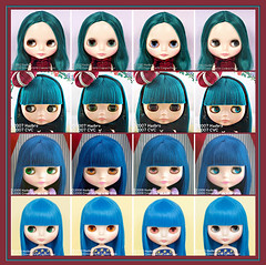 Neo Blythe Comparison: Alexis Emerald (AlEm/first), Princess à la Mode (PAM/second), Can Can Cat (CCC/third) and Simply Sparkly Spark (SSS/last)