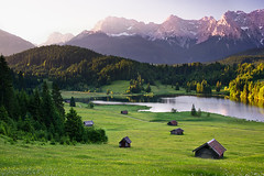good morning karwendel (Dennis_F) Tags: trees light summer mountain lake mountains alps green water berg sunrise germany landscape deutschland see licht view sommer meadow wiese berge huts alpen aussicht landschaft bume sonnenaufgang karwendel huetten