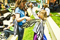 Helping A Bee Into Her Wings (Light Brigading) Tags: sign square bees banner joe bee milwaukee gmo monsanto catalano brusky geneticallymodifiedorganism marchagainstmonsanto