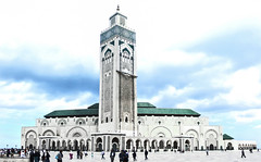 King Hassan II Mosque (© Ahmed rabie) Tags: africa morning art architecture canon day muslim mosque clear morocco ii photomerge casablanca hassan mosques islamic