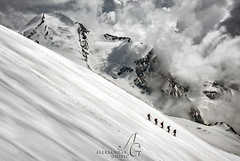 Big World (TranceVelebit) Tags: italy italia switzerland swiss alps alpen alpi penninealps valais monte rosa breithorn castor peaks mountain mountains mountaineering mountaineers hiking hikers people tiny big steep clouds cloudscape glaciers glaciated above high silhouette