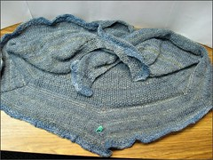 Blue Whale Shawl, unblocked