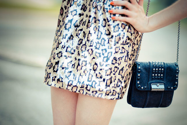 Sequin Leopard Print dress, French Connection UK Style, Asos yellow belt, Color block sandals, Fashion, Outfit, Mini dress