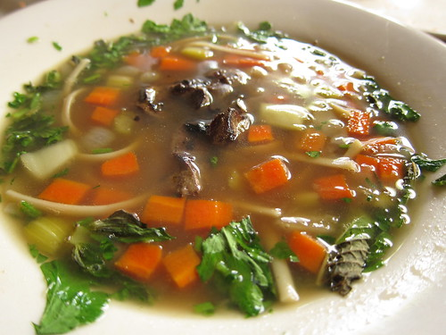 Duck Livers in Beef Broth with Mint and Fresh Vegetables at Feast
