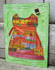 Homemade Dress (JoMo (peaceofpi)) Tags: canada art girl painting clothing colorful doll folkart dress stitch mixedmedia sewing craft fabric fiberart patchwork sewn wallhanging quiltstyle peaceofpi jomobimo