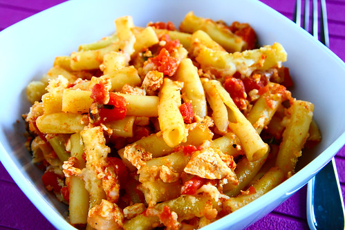 Baked Pasta with Tofu, Tomatoes, and Cheese