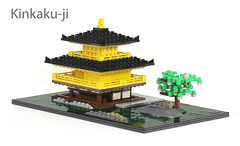 Kinkaku-ji (Carson Hart) Tags: wood building tree green water rock japan architecture carson temple photography lego contest sacred bonsai hart kinkakuji diorama eurobricks kinkakujiyellow