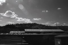 Industrial Estate (Saturated Imagery) Tags: blackandwhite rollei 35mm ir canal iso400 hills infrared sowerbybridge redfilter waterways units selfdeveloped industrialestate rochdalecanal calderdale filmslr microphen vivitar28mmf25 epsonv500 prakticatl5b rolleiretro400s filmdev:recipe=7534