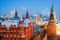 Historical Museum, St.Basil Cathedral, Red Square, Kremlin in Moscow (Dmitry Mordolff) Tags: street travel people urban panorama snow building tower tourism church monument wall skyline museum architecture night gum outdoors temple star hotel store cityscape exterior place symbol russia moscow famous horizon capital tomb cities landmark center panoramic aerial mausoleum soviet russian orthodox department kremlin spasskaya historicalwinter